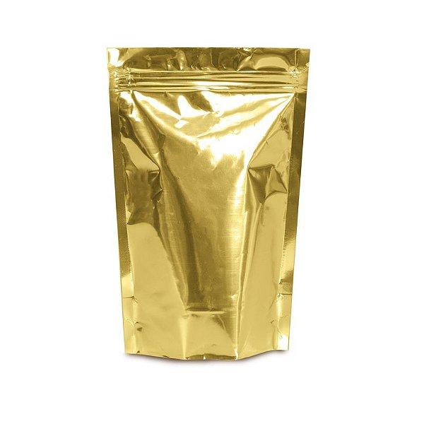 Sacolinha Metalizada com Zip 12x16cm Ouro - 08 unidades - Cromus - Rizzo Embalagens