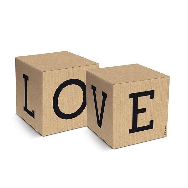 Caixa Cubo Love Felizes para Sempre 6x6x6cm  - 08 unidades - Cromus - Rizzo Embalagens