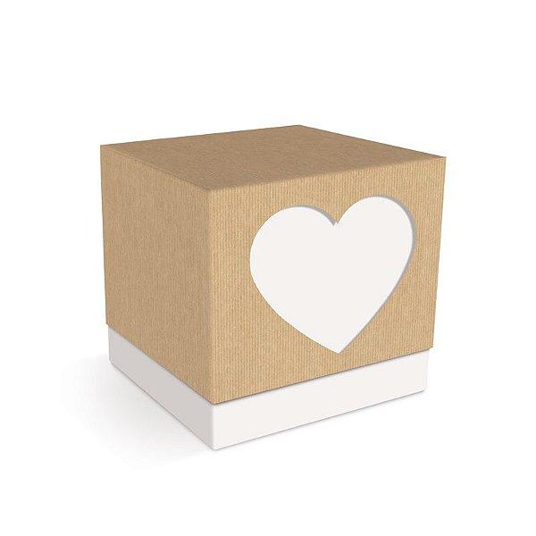 Caixa Cubo Coração Branca Felizes para Sempre 7,5x7,5x7,5cm  - 08 unidades - Cromus - Rizzo Embalagens