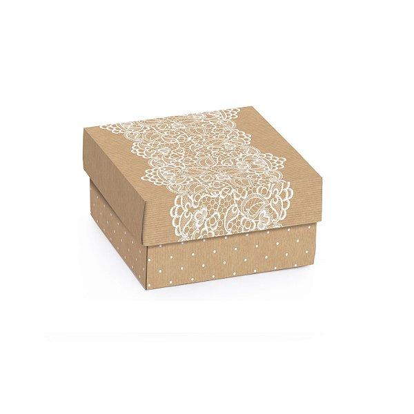 Caixa Mini Quadrada Kraft Renda 6,5x6,5x3,5cm - 10 unidades - Cromus - Rizzo Embalagens
