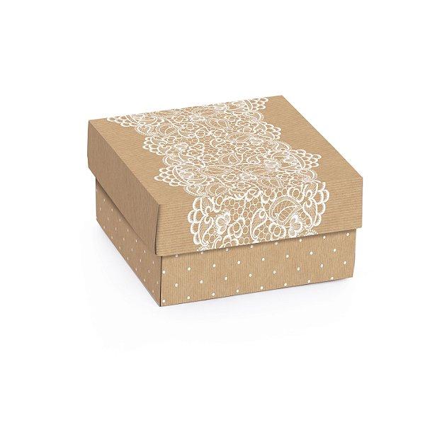 Caixa Mini Quadrada Kraft Renda 9,5x9,5x4cm - 10 unidades - Cromus - Rizzo Embalagens