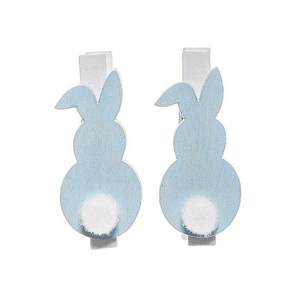 Prendedor Coelho Azul com PomPom Branco - 4x2x1cm - 6 unidades - Cromus Páscoa - Rizzo Embalagens