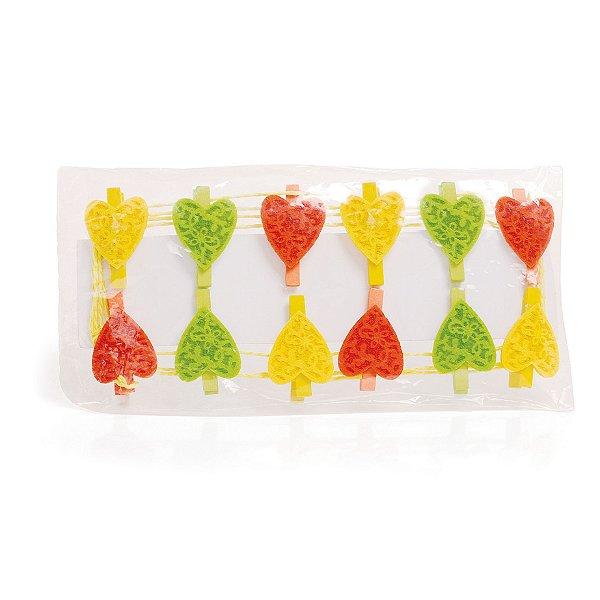 Varal de Corações com Prendedor Verde Amarelo e Laranja - Cromus Páscoa - Rizzo Embalagens