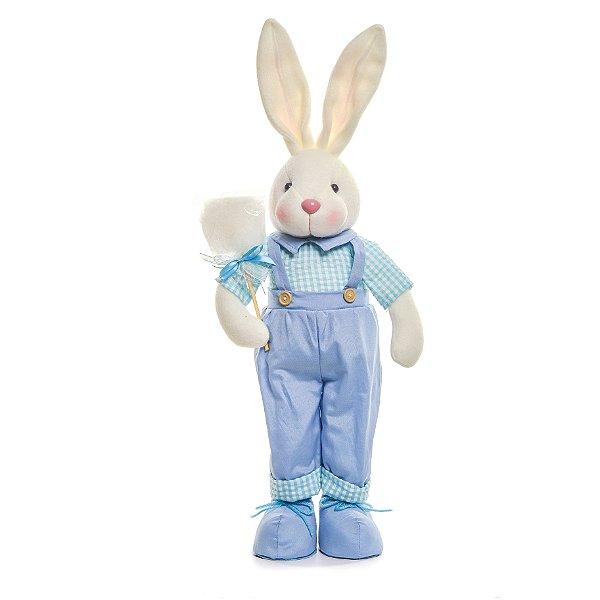 Coelho em Pé Algodão Doce Azul - 52cm x 15cm x 11cm - Linha Pastille - Cromus Páscoa - Rizzo Embalagens