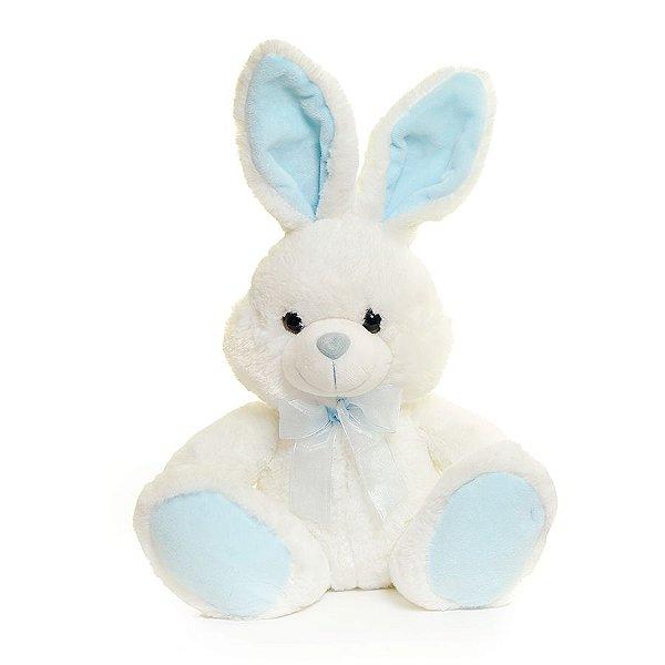 Coelho Sentado com Laço Azul - 25cm x 13cm x 16cm - Linha Candy - Cromus Páscoa - Rizzo Embalagens