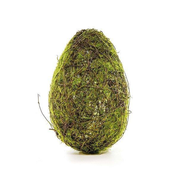 Ovo de Páscoa para Decoração Rústica Galhos e Musgo - G 23cm x 13cm - Cromus Páscoa - Rizzo Embalagens