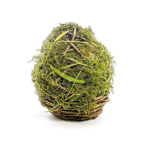 Ovo de Páscoa para Decoração Rústica Galhos e Musgo - P 21cm x 18cm - Cromus Páscoa - Rizzo Embalagens