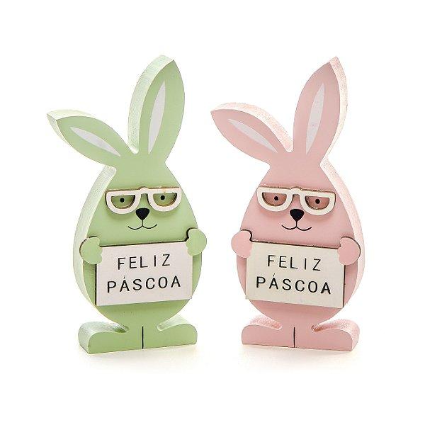 Casal de Coelhos de Óculos em Madeira Verde e Rosa - 15cm x 7cm - 2 unidades - Linha Churros - Cromus Páscoa - Rizzo Embalagens