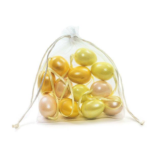 Ovo de Páscoa Decorativo Saquinho Voal 3 tons de Amarelo Perolado - 6cm - 9 unidades - Cromus Páscoa - Rizzo Embalagens