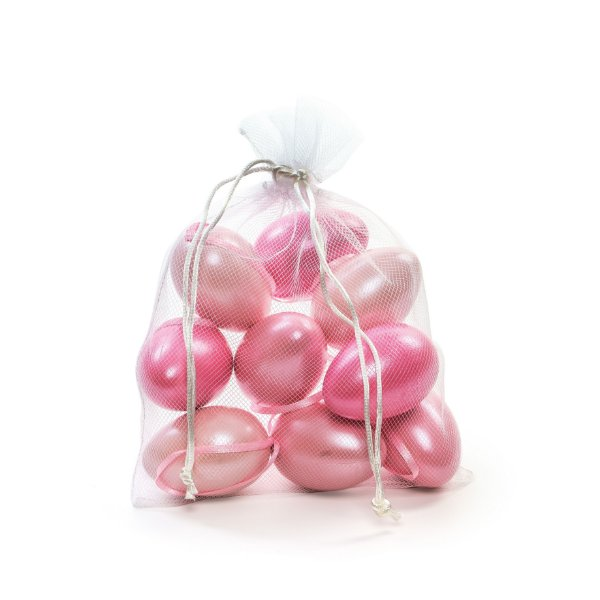 Ovo de Páscoa Decorativo Saquinho Voal 3 tons de Rosa Perolado - 6cm - 9 unidades - Cromus Páscoa - Rizzo Embalagens
