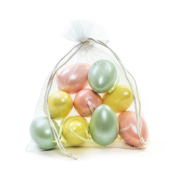 Ovo de Páscoa Decorativo Saquinho Voal Rosê, Verde, Amarelo Perolado - 4cm - 9 unidades - Cromus Páscoa - Rizzo Embalagens
