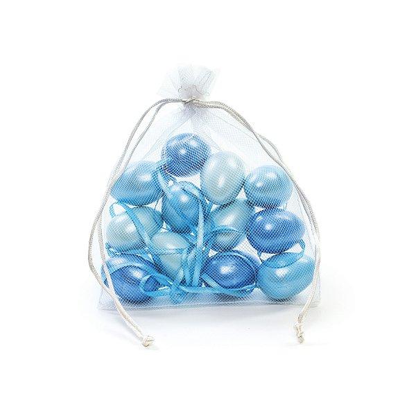 Ovo de Páscoa Decorativo Saquinho Voal 3 tons de Azul Perolado - 4cm - 9 unidades - Cromus Páscoa - Rizzo Embalagens