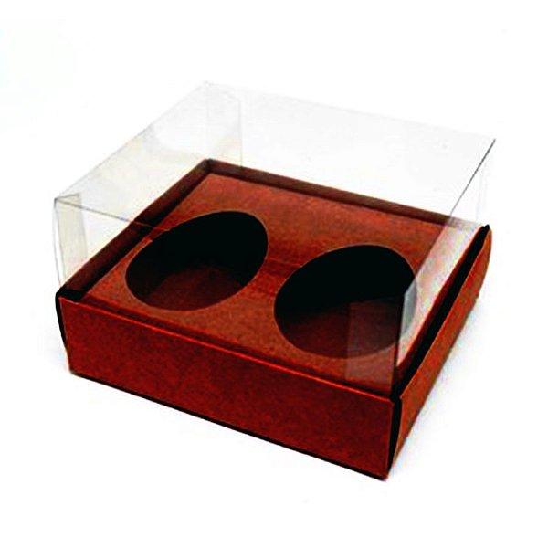 Caixa Ovo de Colher Duplo - Meio Ovo de 50g - 10cm x 10cm x 4cm - Marrom - 5unidades - Assk - Páscoa Rizzo Embalagens