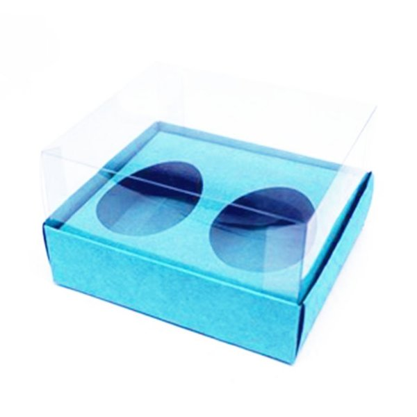 Caixa Ovo de Colher Duplo - Meio Ovo de 50g - 10cm x 10cm x 4cm - Azul - 5unidades - Assk - Páscoa Rizzo Embalagens
