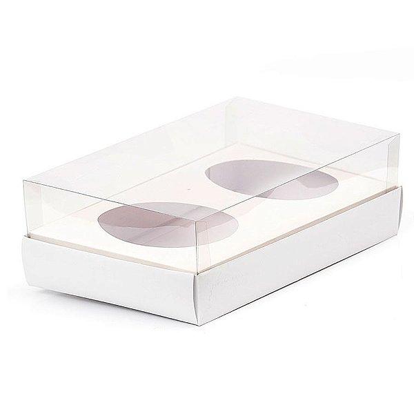 Caixa Ovo de Colher Duplo - Meio Ovo de 100g a 150g - 20cm x 13cm x 8,8cm - Branca - 5unidades - Assk - Páscoa Rizzo Embalagens