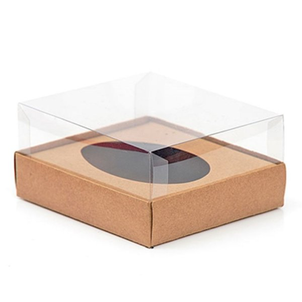Caixa Ovo de Colher - Meio Ovo de 350g - 20,5cm x 17cm x 6,5cm - Kraft - 5unidades - Assk - Páscoa Rizzo Embalagens