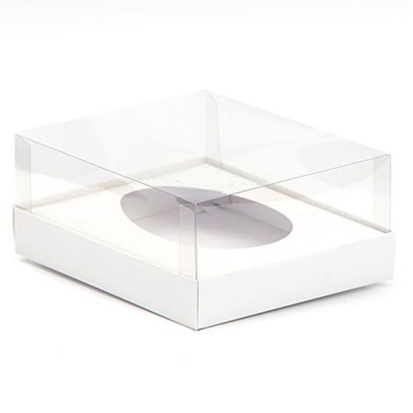 Caixa Ovo de Colher - Meio Ovo de 350g - 20,5cm x 17cm x 6,5cm - Branca - 5unidades - Assk - Páscoa Rizzo Embalagens