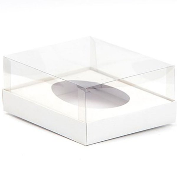 Caixa Ovo de Colher - Meio Ovo de 500g - 20,5cm x 17cm x 6,5cm - Branca - 5unidades - Assk - Páscoa Rizzo Embalagens