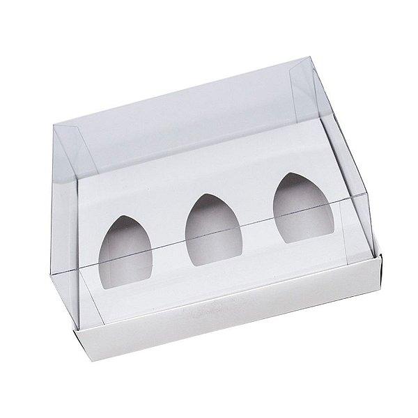 Caixa Barca de Chocolate 3 Cavidades - P - 20,5cm x 17cm x 6,5cm - Branco - 5unidades - Assk - Páscoa Rizzo Embalagens