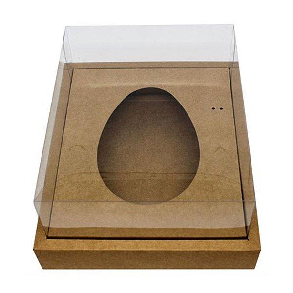 Caixa Ovo de Colher com Moldura - Meio Ovo de 250g - 20cm x 15,5cm x 10cm - Kraft - 5unidades - Assk - Páscoa Rizzo Embalagens