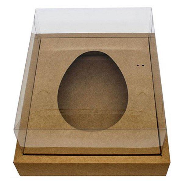 Caixa Ovo de Colher com Moldura - Meio Ovo de 350g - 23cm x 19cm x 10cm - Kraft - 5unidades - Assk - Páscoa Rizzo Embalagens