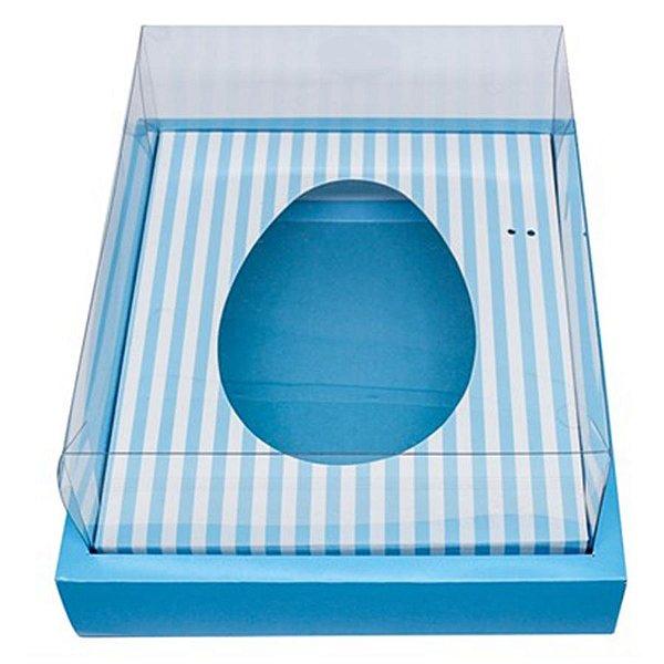 Caixa Ovo de Colher com Moldura - Meio Ovo de 350g - 23cm x 19cm x 10cm - Azul Listras - 5unidades - Assk - Páscoa Rizzo Embalagens