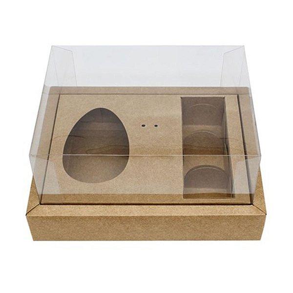 Caixa Ovo de Colher com Moldura 3 Bombons - Meio Ovo de 100g a 150g - 20cm x 15cm x 10cm - Kraft - 5unidades - Assk - Páscoa Rizzo Embalagens