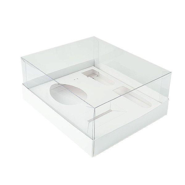Caixa Ovo de Colher Kit Confeiteiro - Meio Ovo de 100g a 150g - 20,5cm x 17cm x 6,5cm - Branca - 5unidades - Assk - Páscoa Rizzo Embalagens