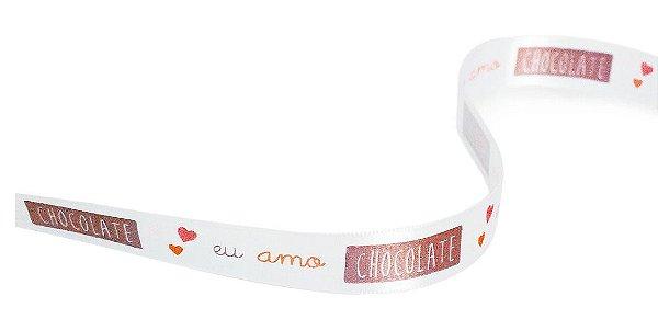 Fita de Cetim Eu Amo Chocolate Colorida 15mm - 10 metros - Progresso - Rizzo Embalagens