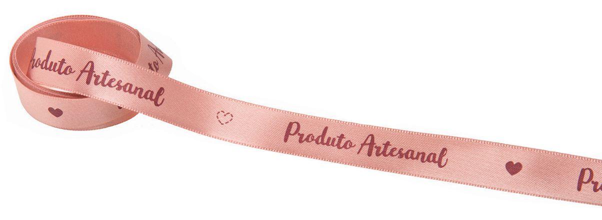 Fita de Cetim Rosa Queimado Produto Artesanal 15mm - 10 metros - Progresso - Rizzo Embalagens