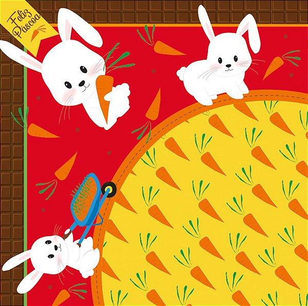 Saco Express 24x24cm para Ovos de 100g a 150g - Hora da Cenoura Vermelho - 05 unidades - Cromus Páscoa - Rizzo Embalagens