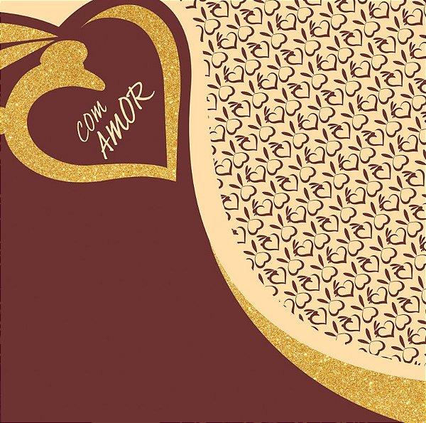 Saco Express 49x49cm para Ovos de 150g a 1kg - Golden Love - 05 unidades - Cromus Páscoa - Rizzo Embalagens