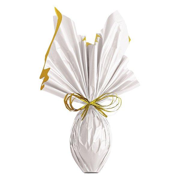 Folha para Ovos de Páscoa Double Face Acetinado Branco Ouro 69x89cm - 05 unidades - Cromus Páscoa - Rizzo Embalagens