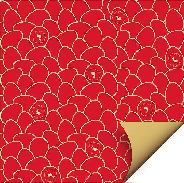 Folha para Ovos de Páscoa Double Face Astral Vermelho 69x89cm - 05 unidades - Cromus Páscoa - Rizzo Embalagens