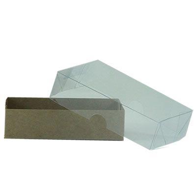 Caixa Base de Papel Tampa de Acetato CH-07 (8,5x8,5x3,5cm) Kraft - 20 unidades - CAC - Rizzo Embalagens