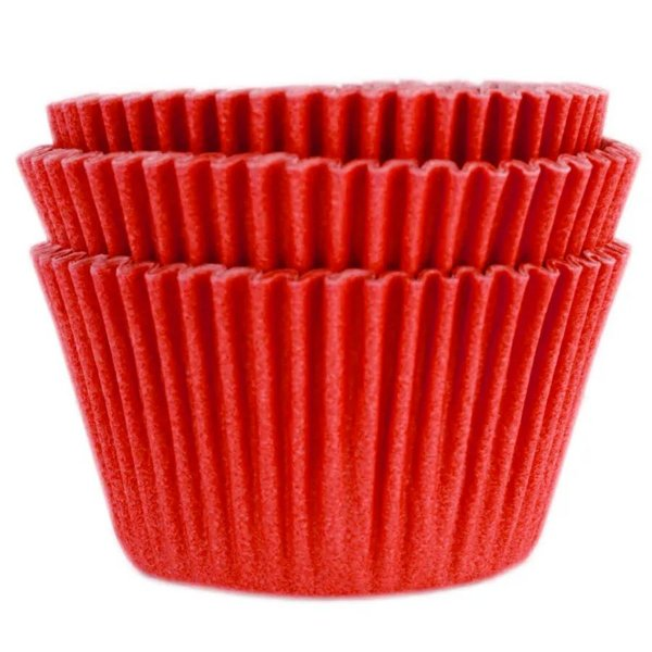 Forminha Forneável Cupcake Nº 0 (4cm x 5cm) Vermelha - 45 unidades - Mago - Rizzo Embalagens