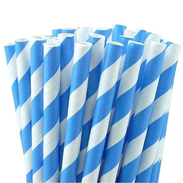 Canudo de Papel Listras Azul - 20 unidades - ArtLille - Rizzo Festas