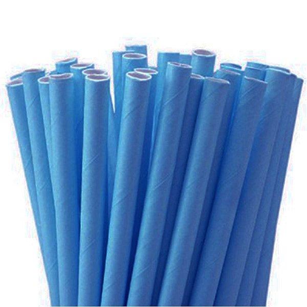Canudo de Papel Liso Azul - 20 unidades - ArtLille - Rizzo Festas