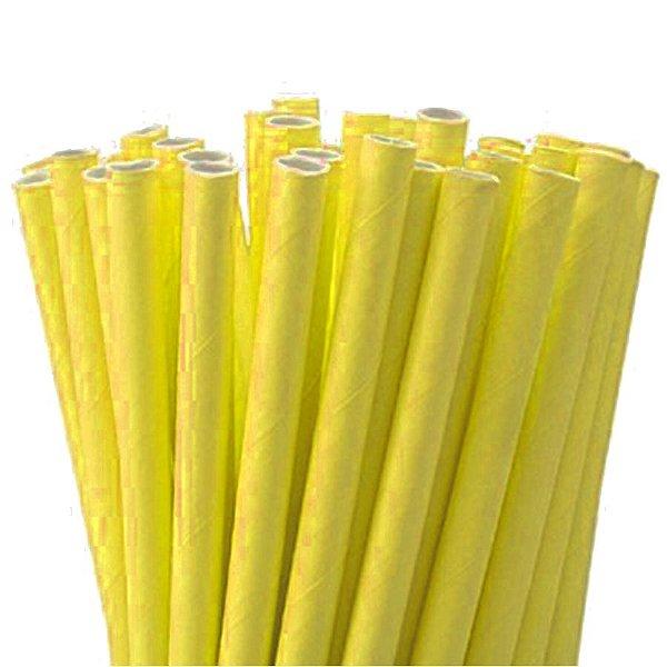 Canudo de Papel Liso Amarelo - 20 unidades - ArtLille - Rizzo Festas