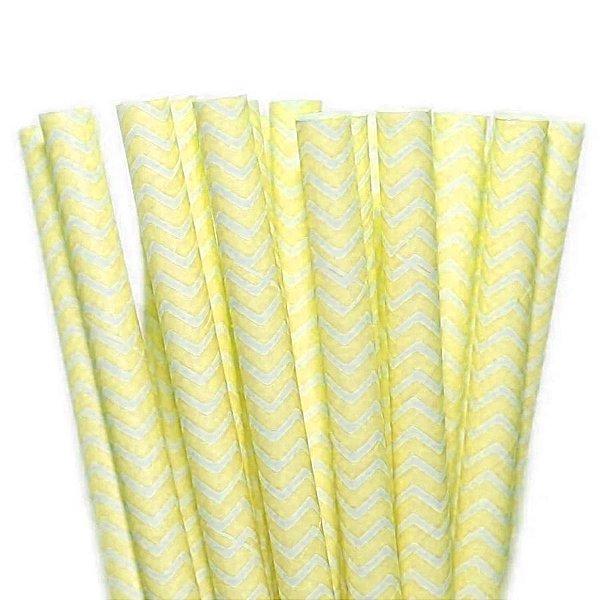 Canudo de Papel Missoni Amarelo - 20 unidades - ArtLille - Rizzo Festas