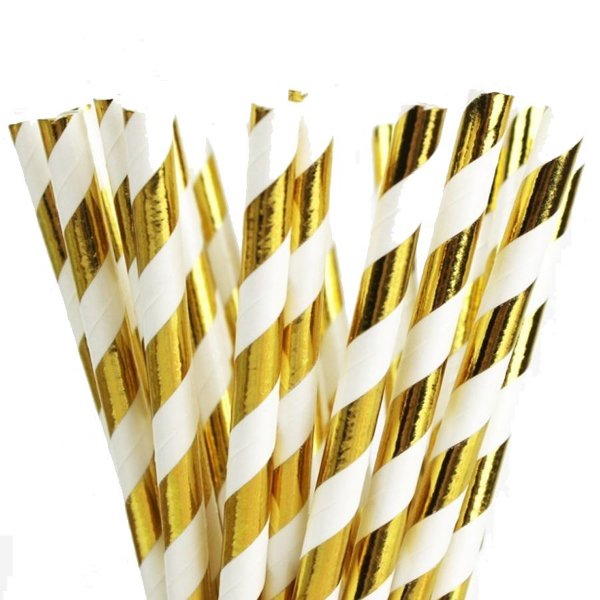 Canudo de Papel Listras Metalizado Dourado - 20 unidades - ArtLille - Rizzo Festas