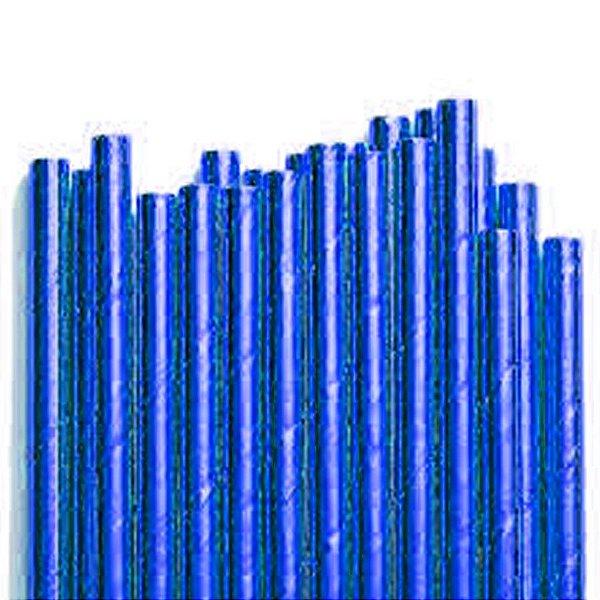 Canudo de Papel Metalizado Azul - 20 unidades - ArtLille - Rizzo Festas
