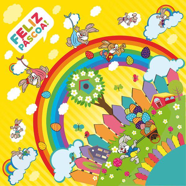 Saco Express 24x24cm para Ovos de 100g a 150g - Bom Dia Amarelo - 05 unidades - Cromus Páscoa - Rizzo Embalagens