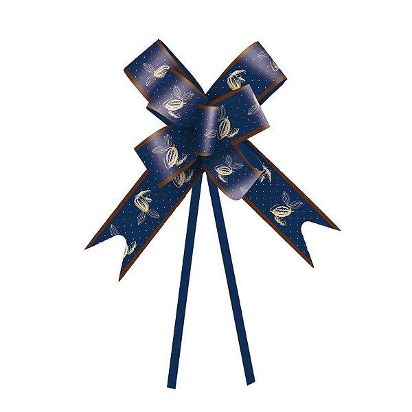 Laço Pronto Cacau Azul Escuro 32mm - 10 unidades - Cromus Páscoa - Rizzo Embalagens