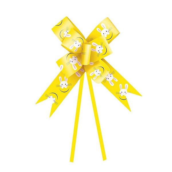 Laço Pronto Coelho Fantasia Amarelo 32mm - 10 unidades - Cromus Páscoa - Rizzo Embalagens