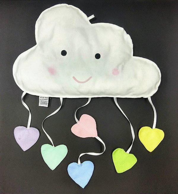 Nuvem Decorativa com Corações em Feltro G - 01 unidade - Pé de Pano - Rizzo Embalagens