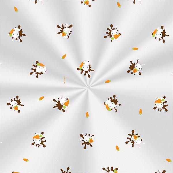 Saco Transparente Decorado 11x19,5cm Coelhinhos - 100 unidades - Cromus Páscoa - Rizzo Embalagens