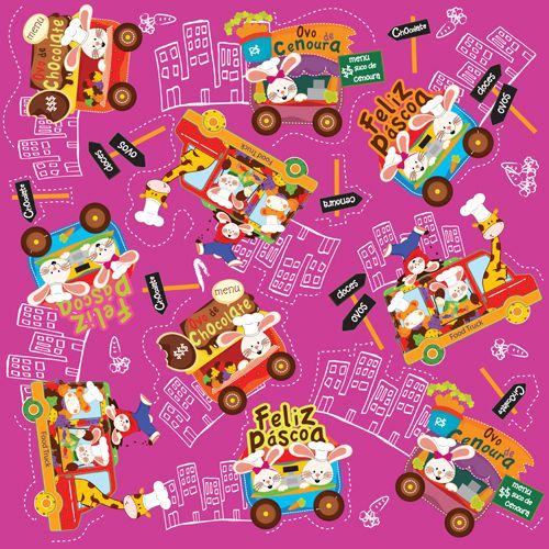 Folha para Ovos de Páscoa Metalizado Food Truck Pink 69x89cm - 05 unidades - Cromus Páscoa - Rizzo Embalagens