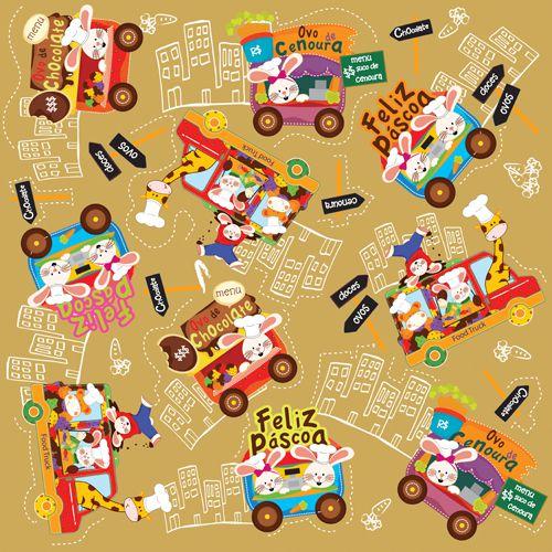 Folha para Ovos de Páscoa Metalizado Food Truck Ouro 69x89cm - 05 unidades - Cromus Páscoa - Rizzo Embalagens