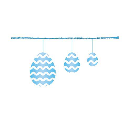 Fio Metalizado Fantasia Ovos Azul 2,70m - 01 unidade - Cromus Páscoa - Rizzo Embalagens